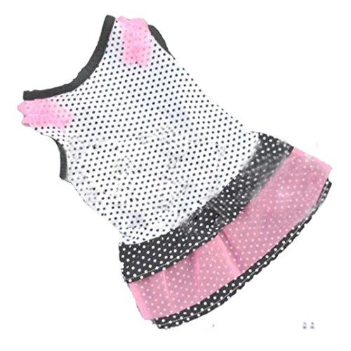 nzessin Kleid, Hmeng Hund Dot Rock Haustier Hund Kleid Karikaturtiere Nettes Hundekatzen Sleeveless Kleid Baumwollkleid Kleidung (S, Weiß) ()