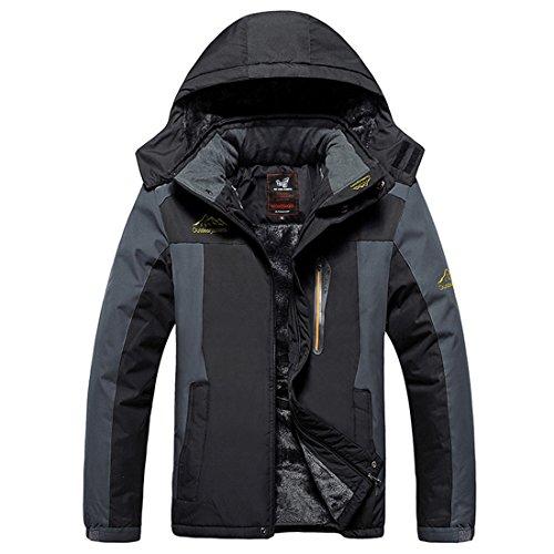 Männer Mantel,CRAVOG Winter Samt Jacke Dicke Männer Wind und Wasserdicht Casual Warme Jacke Schwarz