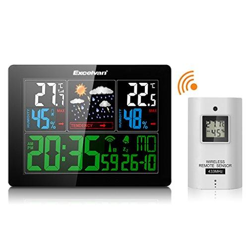 Excelvan 5060C - Estación Meteorológica Inalámbrica Pronóstico del Tiempo (RCC Radio Control Reloj, Medir Temperatura, Humedad, con Sensor, Alarma)