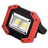 PUAO Cob Außen Arbeitslampe, Tragbare LED Arbeitsleuchte Baustrahler Doppel-USB-Port, 20W 3-Modi Tageslicht für Baustelle Werkstatt Außen Umgebungen Caving Camping (Ohne Batterien)