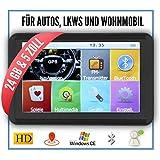 Elebest 12,7cm 5 Zoll Navigationsgerät,24 GB Speicher,PKW,LKW,Wohnmobil,GPS,Freisprecheinrichtung,Bluetooth,Kostenlose Kartenupdate,Fahrspurassistent,Geschwindigkeitsanzeige,Radarwarner