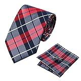 Conjunto de Barry.Wang, de gemelos, pañuelo para bolsillo y corbata, de seda, con estampado de...