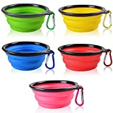 SENHAI Collapsible Travel Bowls for dogs cats pets, 5 Pack Raised Bowls for Feeding Watering on Journeys Hiking Camping, Lightweight & Portable