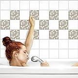 Fliesenaufkleber für Küche und Bad | Fliesenfolie für 15x15cm Fliesen | Mosaik Nebel glänzend | 42 Stück | Klebefliesen günstig in 1A Qualität von PrintYourHome