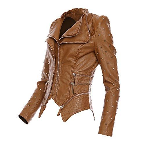 Mayaadi Damen Biker-Jacke stylische kurze Übergangsjacke in Leder-Optik WS-930 Camel