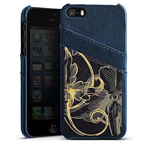 Apple iPhone 5 Housse Étui Silicone Coque Protection Fleur Fleur Fleur Étui en cuir bleu marine