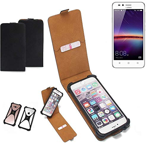 K-S-Trade Flipstyle Case für Huawei Y3 II Dual-SIM Schutzhülle Handy Schutz Hülle Tasche Handytasche Handyhülle + integrierter Bumper Kameraschutz, schwarz (1x)
