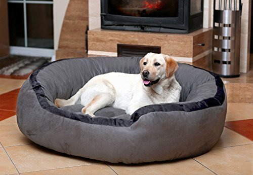 Petitude Reversable Dual(Gray-Black)color Ultra Soft Ethenic Designer Velvet Bed For Dog & Cat(Export Quality)-Large