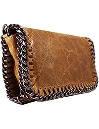 FERETI bolso Marrón de cuero bandolera con cadena