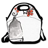 VTXWL Chinese Painting of Flowers Plum Blossom On White Background Cool Lunch Tote Lunch Bag School Mid-Sized