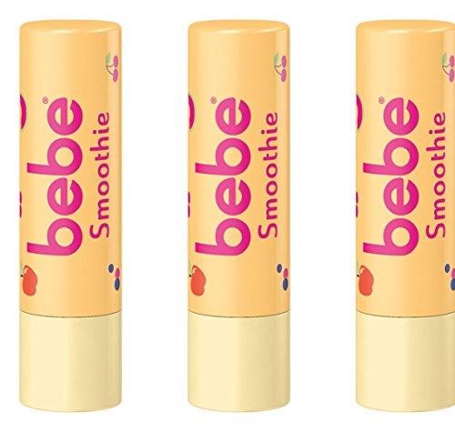 bebe Lippenpflegestift Smoothie - Feuchtigkeitsspendende Lippenpflege mit fruchtigem Duft - Gegen trockene Lippen - 3 x 4,9g