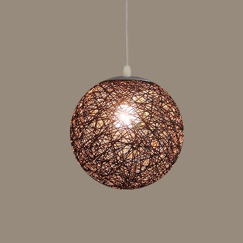 Pendelleuchte Farbige Rattan Ball Kronleuchter Kreative Wohnzimmer Balkon Restaurant Persönlichkeit Schlafzimmer Deckenleuchte Lampe E27 (Farbe : Braun) - Braun Wicker Rattan Lounge