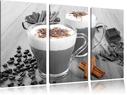 heiße Schokolade und frischer Kaffee mit Streuseln schwarz/weiß auf 3-Teiler Leinwandbild 120x80 Bild auf Leinwand, XXL riesige Bilder fertig gerahmt mit Keilrahmen, Kunstdruck auf Wandbild mit Rahmen, gänstiger als Gemälde oder Ölbild, kein Poster oder Plakat