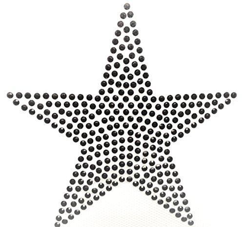 Bügel-Strass Iron on Strass Stern Aufnäher Patches Bügelbilder Sticker Applikation Aufbügler Strass groß zum aufbügeln STERN 11 X 11 CM SCHWARZ waschbare Qualität (Shirt Bügel)