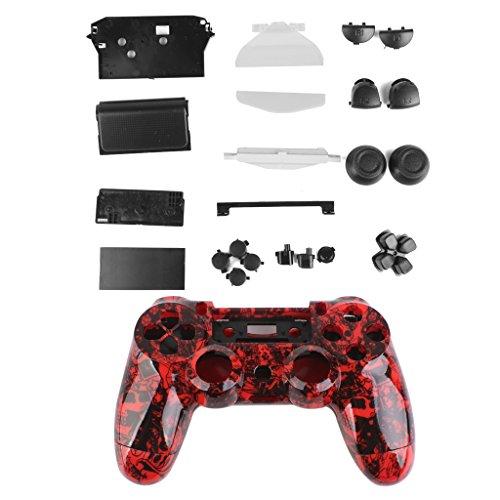Schädel Kontroller Schalengehäuse Fall Kit Buttons Playstation4 PS4 Rot