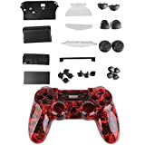 Kit Cáscara Cubierta Funda Protectora Botón Para Mando PS4 Playstation4 Color Rojo