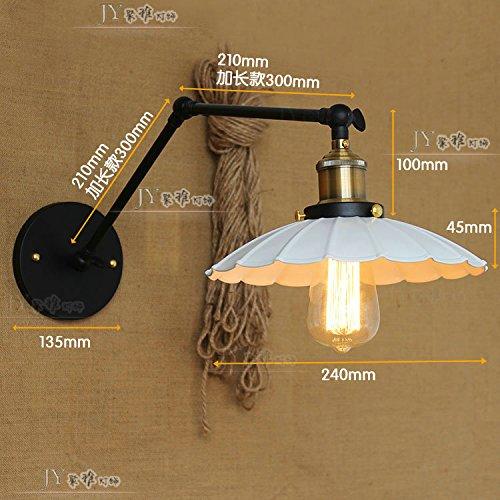 BOOTU Mur escamotable mécanique Rural noir et blanc double section parapluie lampes rétro sur le lit, d'une chambre loft tête simple, feux blanc Maya atomic, longueur du bras : 25 +25cm)