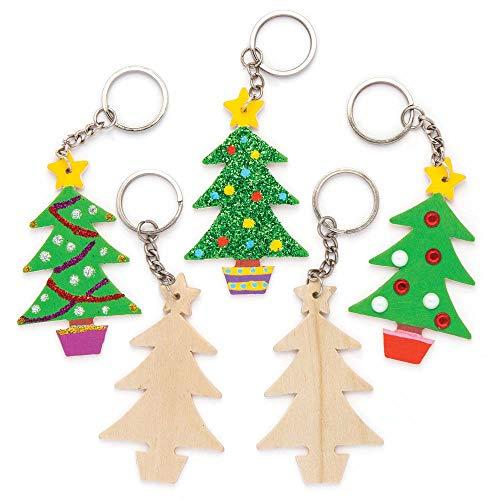 Baker ross portachiavi con alberi di natale in legno (confezione da 8) per creazioni fai da te e decorazioni natalizie per bambini