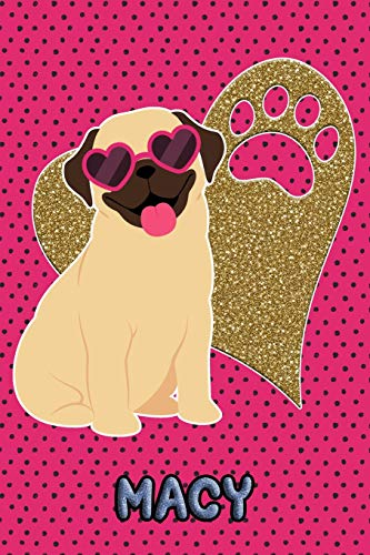 Pug Life Macy: College Ruled | Composition Book | Diary | Lined Journal | Green