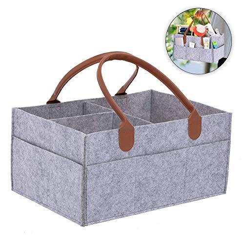 Mayyou Baby Windel Caddy Tote Portable Nappy Basket Stroller Organizer Diaper Storage Bin for Car Travel-Gray