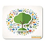Mouse Pads Tree Symbol Flat Sticker with of Ecology Environment Green Energy and Pollution Save the Planet Eco Mouse Pad For Notebooks,Desktop Computers Mouse Mats, Office Supplies