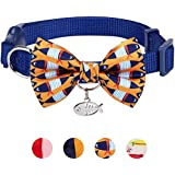 """Blueberry Pet 13 Designs Pack of 1 Timeless Navy Blue Breakaway Adjustable Chic Fish Print Handmade Bow Tie Cat Collar with European Crystal Bead on Fish Charm, Neck 9""""-13"""", Bow 3"""" 2"""""""