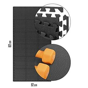 UMOI Extrastarke Profi Schutzmatten mit Ränder Bodenschutz für Sportgeräte in Fitnessräume Keller Büros Schutz vor Kratzern Dellen Kälte Lärm Wasserabweisend Schallschutz Fitnessmatten (32x32x1.2cm)