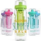 Bonke Trinkflasche für Fruchtschorlen - Große 1 Liter BPA-Freie Sportflasche – Wasserflasche mit Gummigriff und Extra sicherem Verschlusssystem – 1 Jahr Garantie (Greenery)