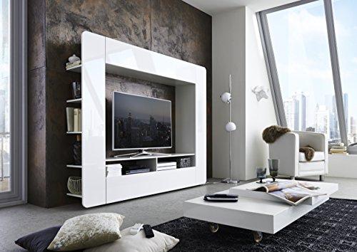 Cavadore 89216 Mediawand Hollywood 01 / Wohnwand Hochglanz Weiß / Moderne Tv-Wand mit viel Stauraum / 35 x 196 x 161 cm (T x B x H) - 3