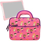 Evecase Slim Handle Carrying Portfolio Neoprene Sleeve Case Bag Compatible with nabi DreamTab HD8 with WiFi 8-inch Touchscreen Tablet PC - Hot Pink Fairy Tale Princess Themed DreamTab HD8