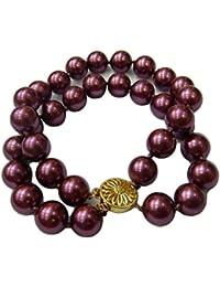 Schmuckwilly Muschelkernperlen Perlenarmband Perlen - Muschelkernperlen Armband 2-reihig violett Hochwertige mb0052