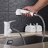 Mangeoo La vernice rubinetto di cucina lavello, lavaggio bacino piatto rubinetto può tirare a caldo e a freddo di pietra di quarzo bianco di sabbiatura rubinetto,Star white