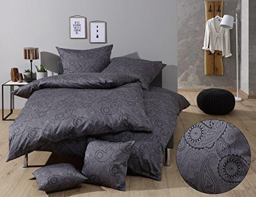 Mako Satin Damast Paisley Bettwäsche Garnitur Davos Kissenbezug 40x40 cm schwarz - grau