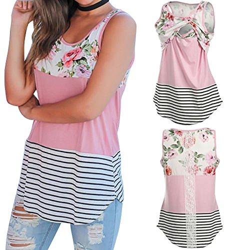 Carolilly Damen Schönes Mutterschafts Shirt Umstandsmode T-Shirt Sommer Streifen Oberteil Zum Stillen (S, Rosa)