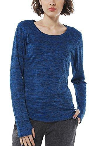 icyzone Damen Laufshirt Langarm T-Shirts atmungsaktive Funktionsshirt für  Sport Fitness (Royal Blue 7eedcd441791a