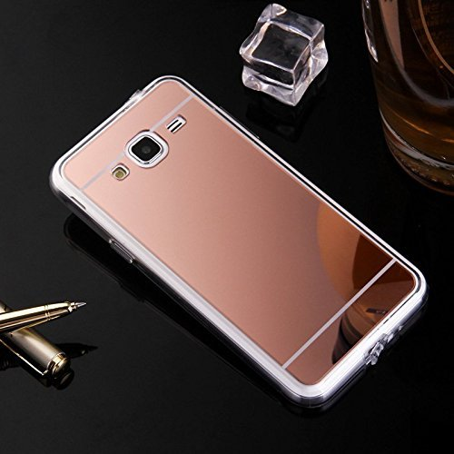 Coque pour Samsung Galaxy Grand Prime, Miroir miroir Housse Coque Silicone TPU pour Samsung Galaxy Grand Prime, Surakey Elegant Cool Bling Briller étincellement Coloré Diamond Rose Or Coque Effet Miroir Etui TPU Téléphone Coque Coquille de protection Flex Soft Gel en Caoutchouc Bumper Shockproof Anti Scratch Housse Rigid Back Cover pour Samsung Galaxy Grand Prime , Or Rose