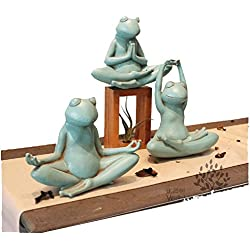 LUOER Lindo animal en forma de ornamento resina yoga ranas estatua estilo pastoral artesanía decoración del jardín al aire libre Patio diseño arte figuritas de dibujos animados decoración del hogar , # 2