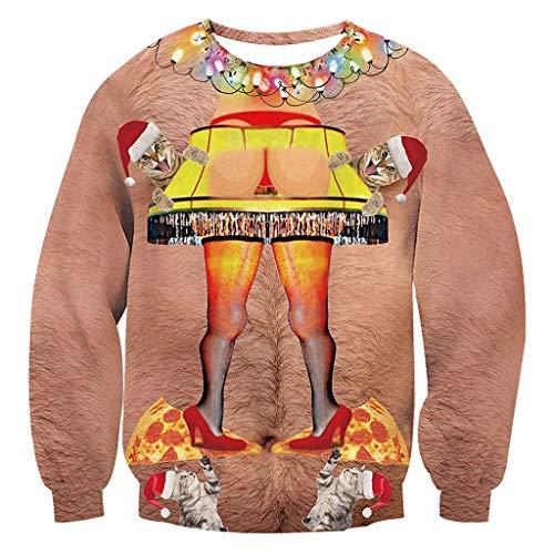 FRAUIT Lustige Frauen/Herren Persönlichkeit 3D Drucken Mit Kapuze Lange ÄRmel Tasche Pullover Drucken Hässlich Hemd Weihnachtspullover Sweatshirt Christmas Xmas Schneeflocken Sweater -