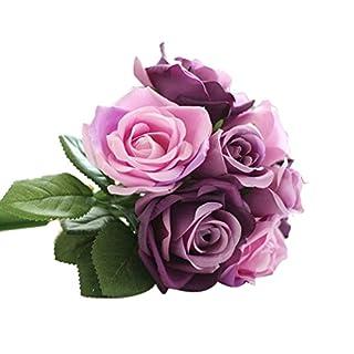 Zolimx 9 Köpfe Künstliche Seide Fake Blumen, Blatt Rosen Hochzeits Blumendekor Blumenstrauß (Lila)