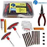 TIREWELL TW-5001 9 in 1 Universal Tubeless Tyre Puncture Kit Emergency Flat Tire Puncher Repair Patch Tool Box for Car Bike SUV and Motorcycle