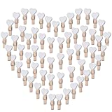 AONER 100PCS Blancs Coeur Mini Pinces à Linge Coloré en Bois Clothespin Epingle à Linge Clips Photos pour DIY Décoration