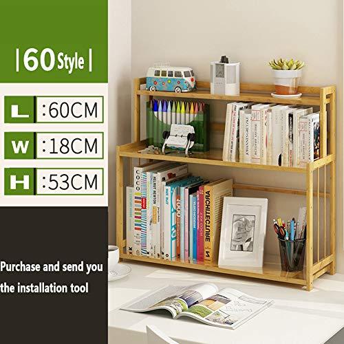 XXLLQ Schreibtischregal, freistehend, Naturholz, zum Aufstellen auf Schreibtisch/Bücherregal,Einfache Moderne Tischregal Büro Desktop Rack Bambus Lagerregal Student,60 * 18 * 53cm