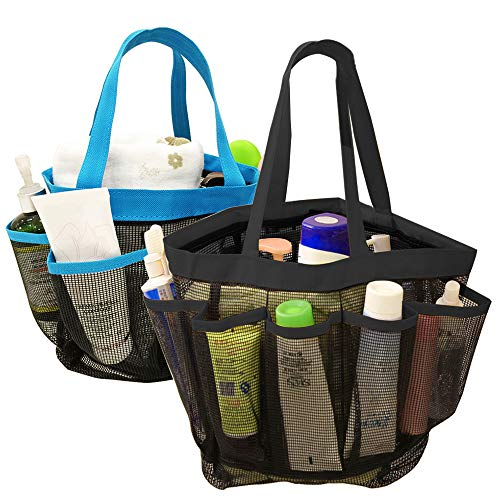 Yucool 2pack portable mesh shower caddy, quick dry shower tote appeso bagno doccia organizzatore con 8scomparti per shampoo, sapone e altri accessori da bagno–nero, blu