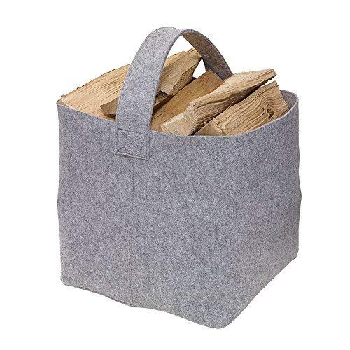 Kaminholz Tasche Filz 36 x 40 x 40 cm Kaminholzkorb Grau Kaminholztasche ausgelegt für max.15 kg auch als Zeitungstasche, Allzweckstasche verwendbar
