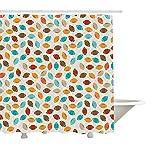 Yeuss Rideau de Douche Football, Motif Abstrait Jeu coloré d'école icône Rugby Universitaire Championnat Universitaire,Ensemble décor Salle Bains en Tissu avec Crochets,Multicolore