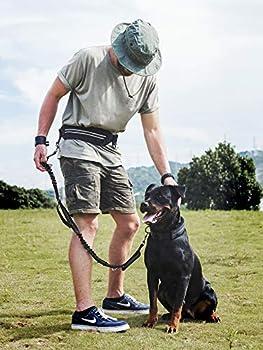 1t Onetigris Jogging Hundeleine Mit Hüftbeutel2handgriffenbungee-leine Reflektierende Nähte ,115 Cm-175 Cm (Schwarz) 5