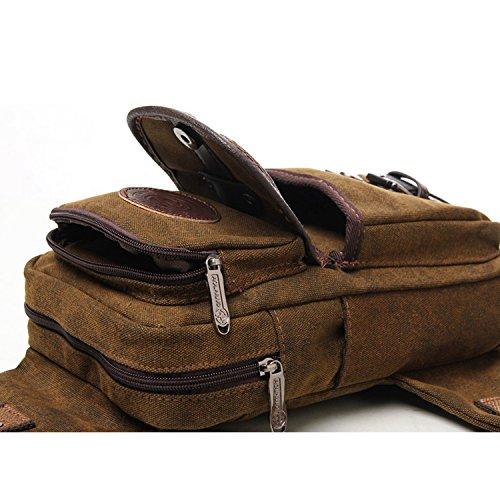 Outreo Tracolla Uomo Borsa a Spalla Petto Borse Vintage Chest Bag Sport Tasche Outdoor Borsello Piccolo Marsupio Tasca di Tela per Viaggio Militare Trekking Marrone