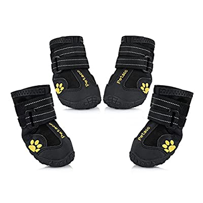 Petacc Protective Dog Boots, Set of 4 Waterproof Dog Shoes for Large Dogs by Petacc