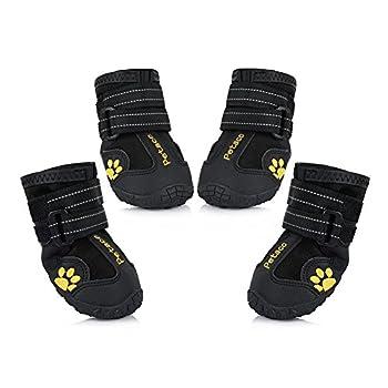 Petacc Bottes Chien Chaussure Chien Imperméables Bottes de Pluie avec Semelles Anti-Dérapantes pour Chien 13-40kg (4#)
