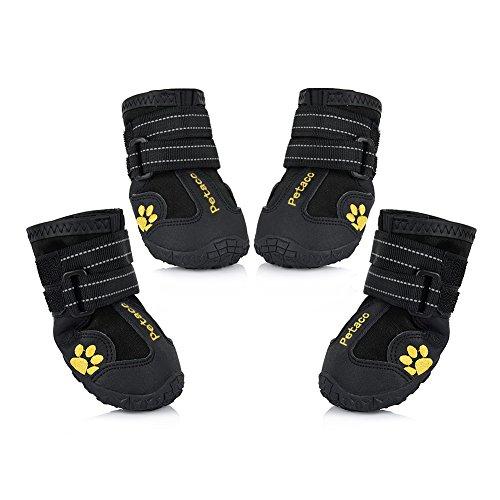 Petacc 4-er Wasserdichte Hunde schuhe Anti-Rutsch Haustier Schuhe Warme Hunde Stiefel Gummi Haustier Stiefel Pfotenschutz für groß Hund (4#)